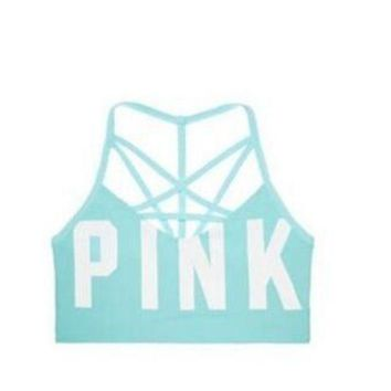 Victoria's Secret Pink Women's Yoga Fitness Stretching Movement Seamless Outside Cross Sports Bra F Blue