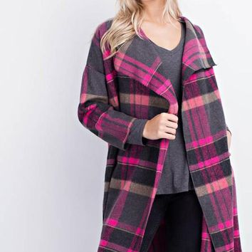 wool textured plaid coat w/ pocket  (2 colors)