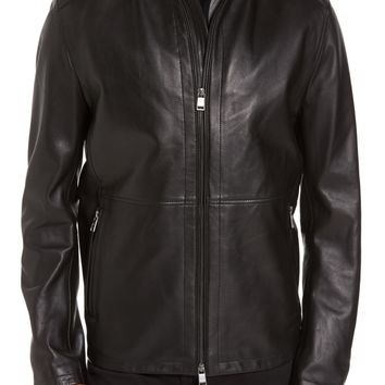 BOSS Collar Inset Leather Jacket | Nordstrom