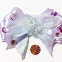 Light Lavender Hair Bow, Pageant bows glitz accessories, rhinestones, gift ideas, boutique bows, stacked bows, girly bows, beauty wear, bows