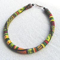 "Beaded crochet necklace ""Colours of Africa"" -Bead Crochet Rope"