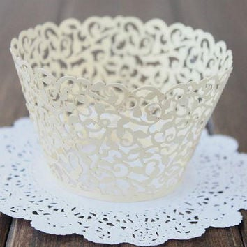 Cupcake Wrapper | White Pearl Lace Cupcake Liner | Filigree Decorations Wedding Cake Wraps | Party Baby Shower Birthday (12pcs)