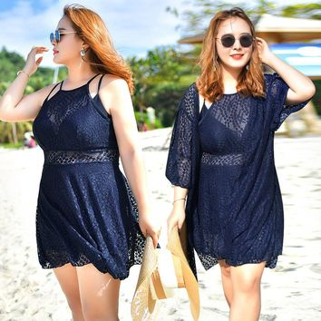 2018 New arrival one piece swimwear summer sun proof cover up plus size swimsuit lace cover-up bathing suit for women bodysuit
