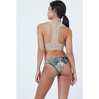 Scout Low Rise Skimpy Bikini Bottom - Everglade Tan Floral Print