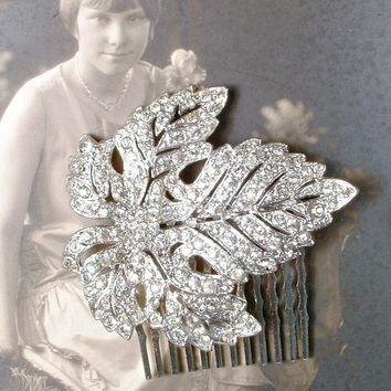1920s Art Deco Bridal Hair Comb, TRUE Vintage Rhinestone Silver Leaf Hairpiece, Pave Crystal Antique Fur Clip to OOAK Headpiece Rustic Chic
