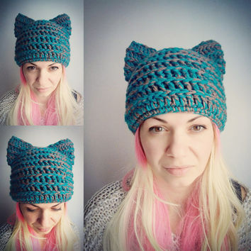 Teal Cat Hat Brown Pussy Hat Cat Crochet Hat with Ears Animal Hat for Girls Women Cat Hat Chunky Teal Blue Hat Crochet Gift