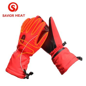 Savior Heat winter Heated GLove outdoor sporting skiing riding golf racing battery heating waterproof windproof red women's 2017