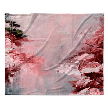 "Ebi Emporium ""Winter Dreamland 5"" Red Gray Fleece Throw Blanket"