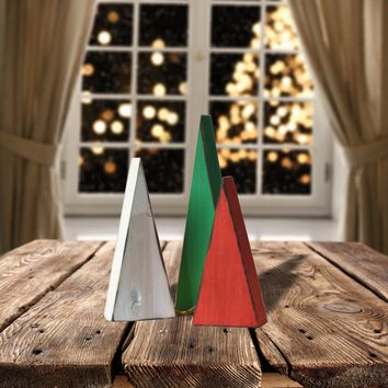 Wooden Christmas Trees, Mantle Decoration
