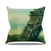 "Ann Barnes ""Paris Dreams"" Green Tower Throw Pillow"