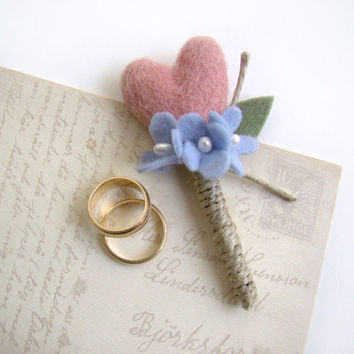 Felted Heart Wedding Boutonniere, Grooms Boutonniere, Blush Pink Wedding, Men's Lapel Flower, Felt Flower Wedding, Rustic, Twine, Hydrangea