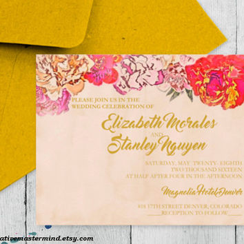DIY Wedding Invitation Template, Instant Download, DIY, Editable PDF, Printable, Digital, Elegant Painted Floral #1CM79-1