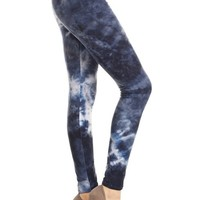 Deep Ocean Tie Dye Graphic Print Lined Leggings