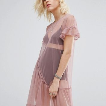 River Island Pleat Hem Smock Dress In Mesh at asos.com