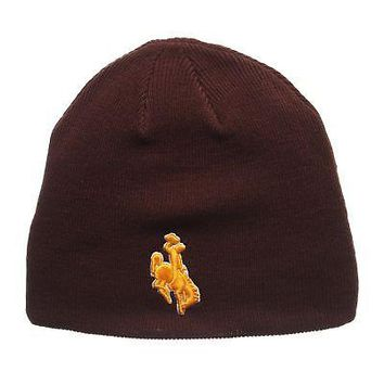 Licensed Wyoming Cowboys Official NCAA Edge Adjustable Beanie Knit Sock Hat by Zephyr KO_19_1