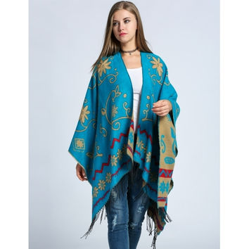 Ethnic Style Knitted Floral Blanket Scarf Shawl Wrap Neck Poncho Cardigans With Tassel