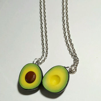 20% OFF TODAY ONLY! Best Friends Avocado Halves Necklaces, Polymer Clay Food Jewelry