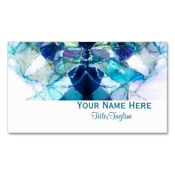 blue abstract art business card double sided