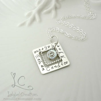 Personalized Jewelry, Sterling Silver Square Washer Necklace, Hand Stamped Mothers Jewelry