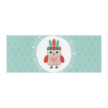 "Daisy Beatrice ""Hipster Owlet Mint Coral"" Teal Bed Runner"