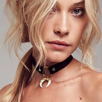 Free People Foiled Horn Leather Choker