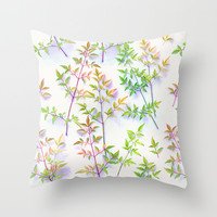 Leaves in the Light Throw Pillow by Micklyn
