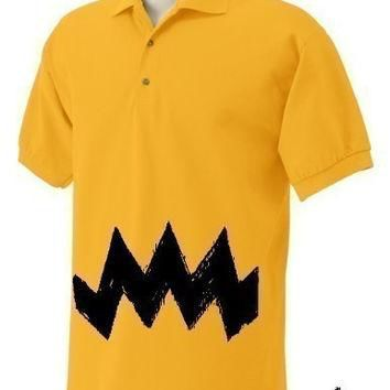 Retro NEW Charlie Yellow Zig Zag argyle stripes Mens Men's peanuts vintage nice brown