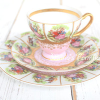 Rare, Antique, Handpainted, Royal Vienna, Beehive Mark,  Fragonard Courting Couple, Fine Porcelain, Love Story Pattern, Teacup & Saucer Trio