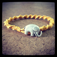 Yellow Swirled Hemp Bracelet - Elephant
