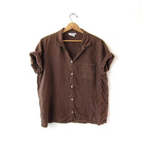 vintage loose fit linen top. brown cotton tshirt. button front minimalist blouse. minimal slouchy tee shirt. oversized top. L