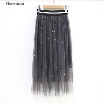Hermicci Women Beading Tulle Skirt 2017 Autumn Mesh Tulle Skirt Female Silver Pearl Tutu Elastic Waist Vintage Pleated Skirt