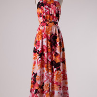 Hibiscus Flower Maxi Dress - Coral