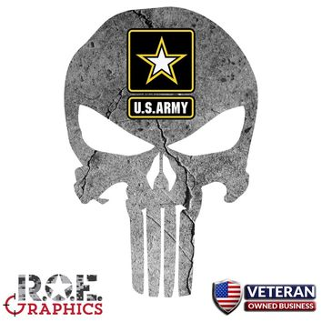 Punisher Skull Window Decal Vinyl Graphic US Army veteran Army Logo sticker