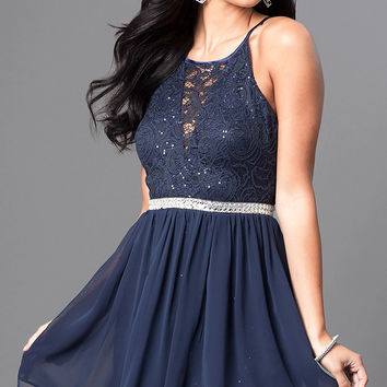 Navy Blue Short Lace Homecoming Party Dress