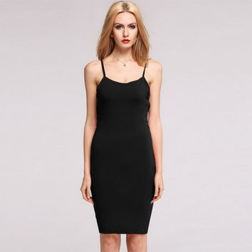 Fashion Women's Strap Solid Backless Bodycon Pencil Party Dress Homecoming Dress