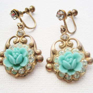 Vintage Mint Blue Flower Celluloid Earrings Dangle Drop Screw Back Earrings Gift for Her Earrings Spring Jewelry Vintage Jewelry