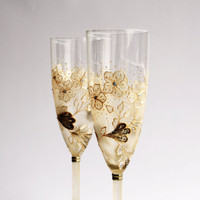 Wedding Champagne Glasses Hand Painted Gold White Brown set of 2