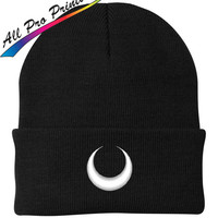 Wiccan Upside Down Crescent Moon Embroidered Beanie Moon Metal Band Music One Size Fits Most