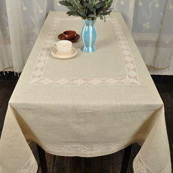 69x157  Inches shabby chic ,Lace  Linen Big size  Tablecloths  Oblong , NEW