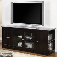 """A.M.B. Furniture & Design :: Living room furniture :: TV Stands :: 60"""" wide medium Espresso finish wood TV stand with glass front cabinet doors and storage"""