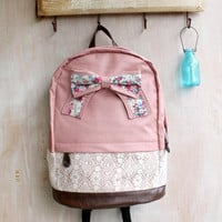 Fashion Floral with Bow Lace Backpack