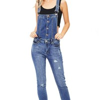 Bolt Button Denim Overalls