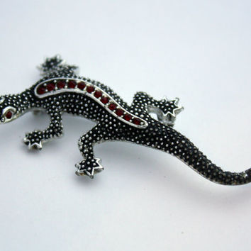Vintage Emmons Silver Lizzard Brooch Pin with Red Rhinestones