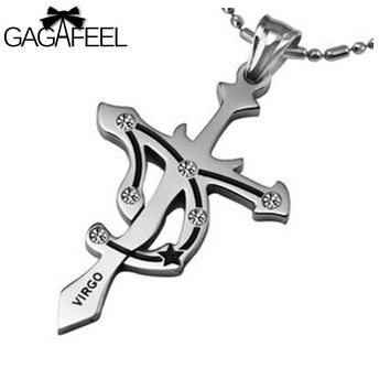 Fashion Men's Titanium Stainless Steel Silver Color Cross Pendant Necklace Crystal Fine Jewelry