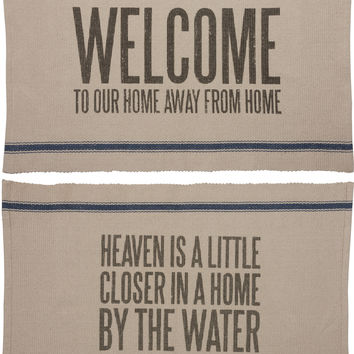 Double Sided Canvas Throw Rug - Welcome To Our Home Away From Home / Heaven is Closer in a Home by the Water - 3-ft x 2-ft
