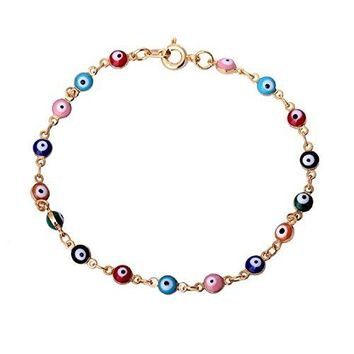 Blowin Womens Present Rose Gold Tone Overlay with Colorful Mini Evil Eye Style Bracelet 787 Inch