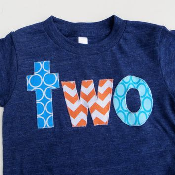 indigo Birthday Shirt for 2 year old 2nd Birthday lowercase two orange and aqua for Nemo theme