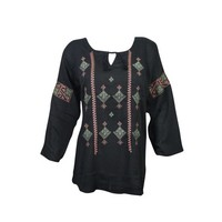 Mogul Womens Ethnic Embroidered Top Blouse Black Long Sleeves Summer Comfy Indian Tunic - Walmart.com