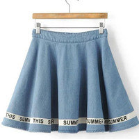 Letter Print Hem High Waist Denim Skater Skirt