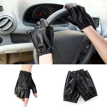 Anti-slip Unisex Outdoors Faux Leather Breathable Driving Half Finger Gloves